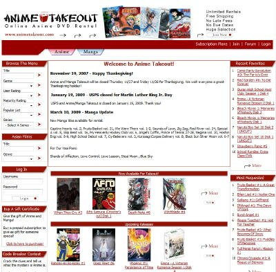 Visit Anime Takeout DVD Rental Site
