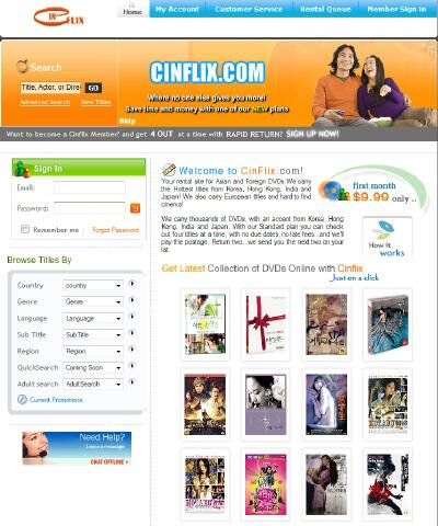 Visit Cinflix DVD Rental Site Cinflix focuses on Asian and foreign ...