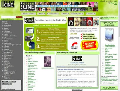 Visit Green Cine DVD Rental Site